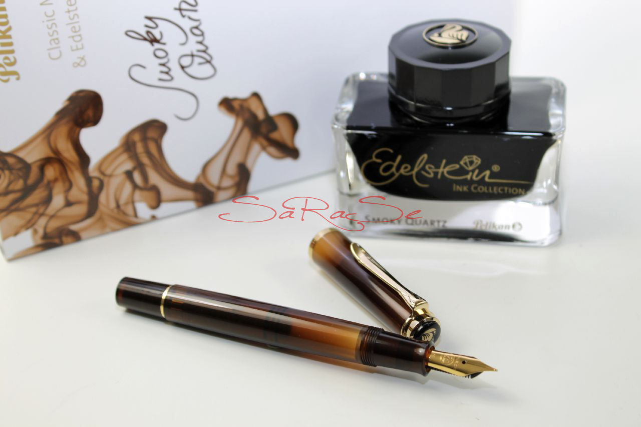 pelikan classic 200 smokey quartz gold f ller mit edelstein tintenfass ebay. Black Bedroom Furniture Sets. Home Design Ideas